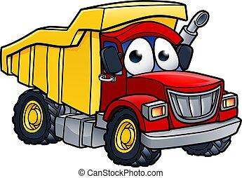 Dump Truck Cartoon Charakter.