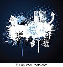 dunkel blau, rahmen, grunge, stadt