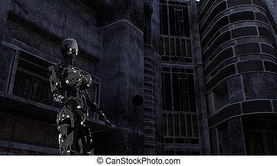 dunkel, cyborg, zimmer, zukunftsidee