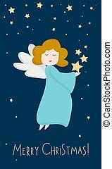 dunkel, karten, gruß, vektor, porträt, engelhaft, blaues, reizend, stars., zeichen, angel., einladungen, freigestellt, fliegendes, figur, ansicht, engelchen, weihnachten, hintergrund, design, clothes.