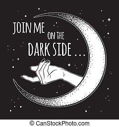 dunkel, mond, seite, beckons, hand