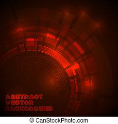 dunkel, technisch, abstrakt, roter hintergrund