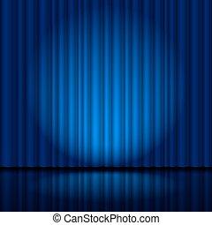 Dunkelblauer Bühnenvorhang