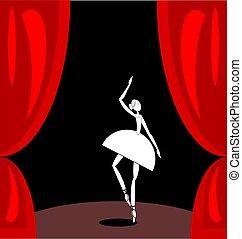 Dunkle rote Szene und weißer abstrakter Balletttänzer.