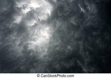 Dunkler, dramatischer Himmel mit Sturmwolken