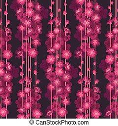 Dunkler Hintergrund nahtlos Muster mit Frühlingsblütenblüten.