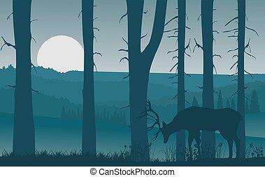 dunstig, silhouetten, landschaftsbild, hirsch, hügel, natur, wälder, blaues, vektor