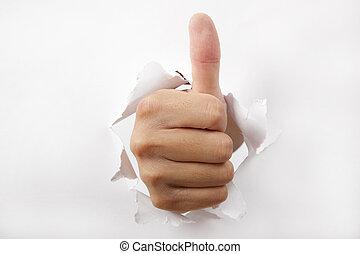 durch, auf, papier, daumen, brechen, hand, weißes