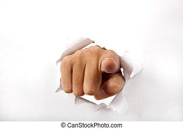 durch, papier, finger, brechen, zeigen, hand, sie, weißes