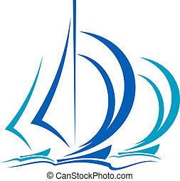 Dynamische Bewegung von Segelbooten.