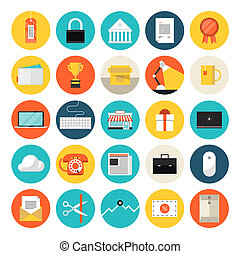 E-Commerce und Markt Flach-Icons