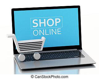 e-commerz, shoppen, laptop., karren, 3d, begriff
