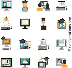 E-Learning Icons flach gesetzt.