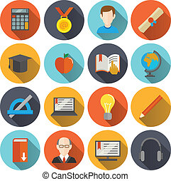 E-Learning Icons flach.