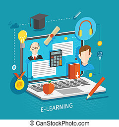 E-Learning Konzept Wohnung.