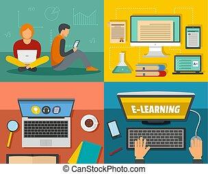 E-Learning Training Banner Konzept Set, flacher Stil