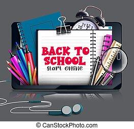 e-lernen, online, schirm, elemente, start, ballpen, telefon, klug, mögen, design., schule, text, education., bleistift, notizbuch, farbe, zurück, vektor, begriff