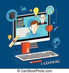 e-lernen, wohnung, plakat