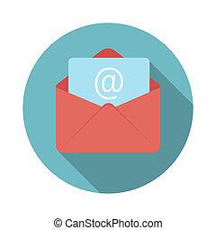 E-Mail Flat Icon mit langem Schatten.