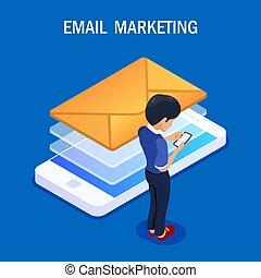 E-Mail Marketing isometrische Konzept. Empfangen oder senden Sie einen Brief mit einem Mobiltelefon. Ein Mann mit einem Smartphone in den Händen liest einen neuen Brief. Vector Illustration im 3D-Farbstil.
