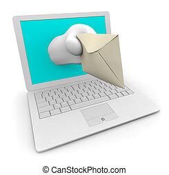 e-mail, weißes, laptop, dein, liefern
