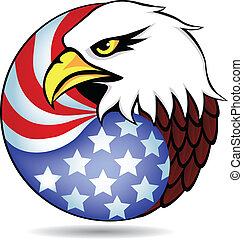 Eagle hatte und Flagge von Amerika