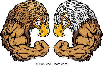 Eagle-Maskottchen, die mit dem Waffen-Zeichen ausweichen