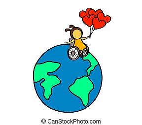 earth., rollstuhl, m�dchen, planet