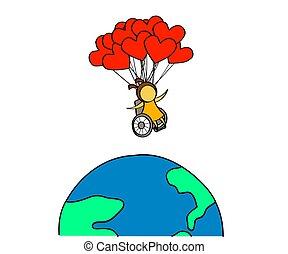 earth., rollstuhl, m�dchen, vektor, cartoon., planet