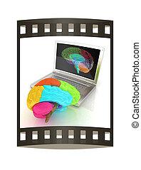 echte , dreidimensional, überfliegen, render., digital, laptop., kreativ, gehirn, menschliche , streifen, modell, film, 3d