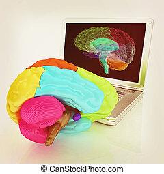 echte , dreidimensional, überfliegen, weinlese, laptop., kreativ, gehirn, menschliche , digital, modell, render., style., 3d