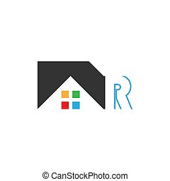 echte , logo, vektor, r, brief, haus, ikone, gut