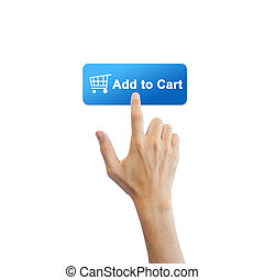 echte , taste, freigestellt, hand, e-commerz, hintergrund, weißes