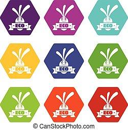 Eco Aubergine Icons setzen 9 Vektor.