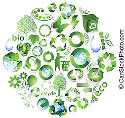 Eco end recycelt Symbole