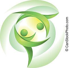 Eco-icon mit grünen Tänzern