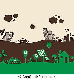 Eco-Stadt und verschmutzte Stadt