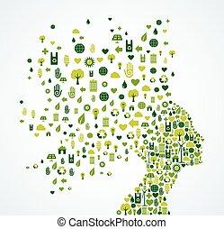 Ecology App Icons splash Woman Kopf