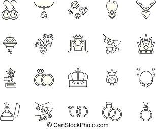 edelsteine, steine, begriff, grobdarstellung, satz, heiligenbilder, abbildung, vektor, kostbar, zeichen & schilder, linie