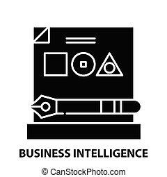 editable, schwarz, begriff, geschaeftswelt, intelligenz, schläge, zeichen, ikone, vektor, abbildung