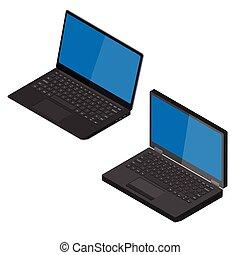 edv, weißes, ansicht, hintergrund, laptop, freigestellt, isometrisch