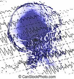 eeg, brainwaves, röntgenaufnahme, totenschädel