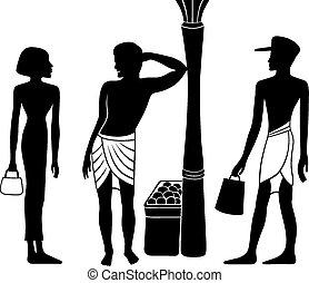 egyptian-greek, uralt, silhouette