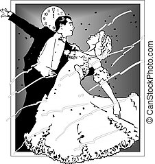 ehepaar, tanzt, abbildung, vektor, 10, eps, tanzsaal, dance.