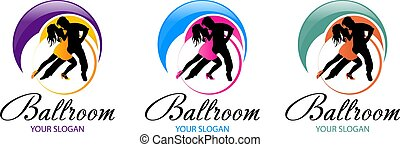 ehepaar, tanzt, logo