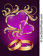 Ehering und zwei Herzen