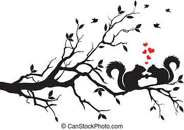 Eichhörnchen auf Baum.