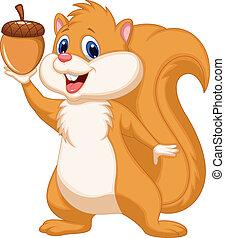Eichhörnchen Cartoon mit Nuss