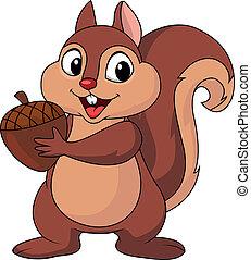Eichhörnchen-Cartoon mit Nuss.