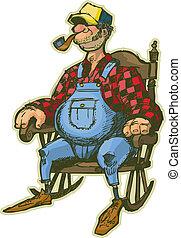 Ein älterer Mann im Schaukelstuhl
